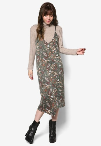 細肩帶印花層次連esprit童裝門市身裙, 服飾, 洋裝