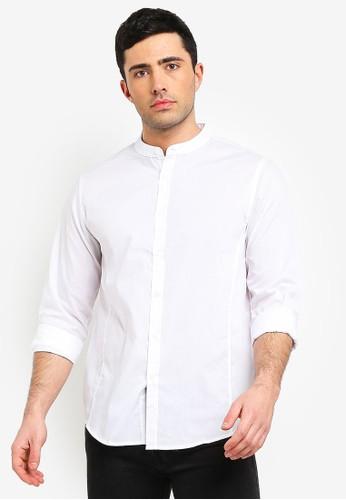 Brave Soul white Grandad Collar Shirt 9F12AAA2D4C15DGS_1
