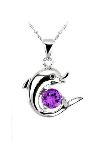 Elfi purple and silver Genuine 925 Silver Necklace SP3 EL186AC27KEQMY_1