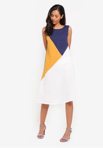 ZALORA BASICS multi Basic Triangle Colourblock Dress E617AAA9540A93GS_1