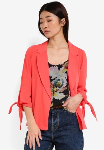 Dorothy Perkins pink Coral Tie Sleeve Jacket DO816AA67SZSMY_1