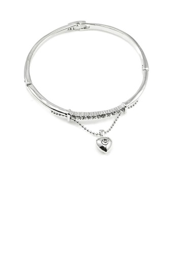 Glamorousky silver Elegant Bangle with Silver Austrian Element Crystal and Heart Charm 699FEAC5CEF443GS_1