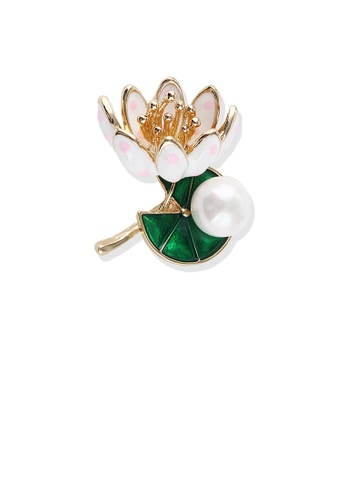Glamorousky white Fashion and Elegant Plated Gold Lotus Imitation Pearl Brooch 25F54ACFD98D82GS_1