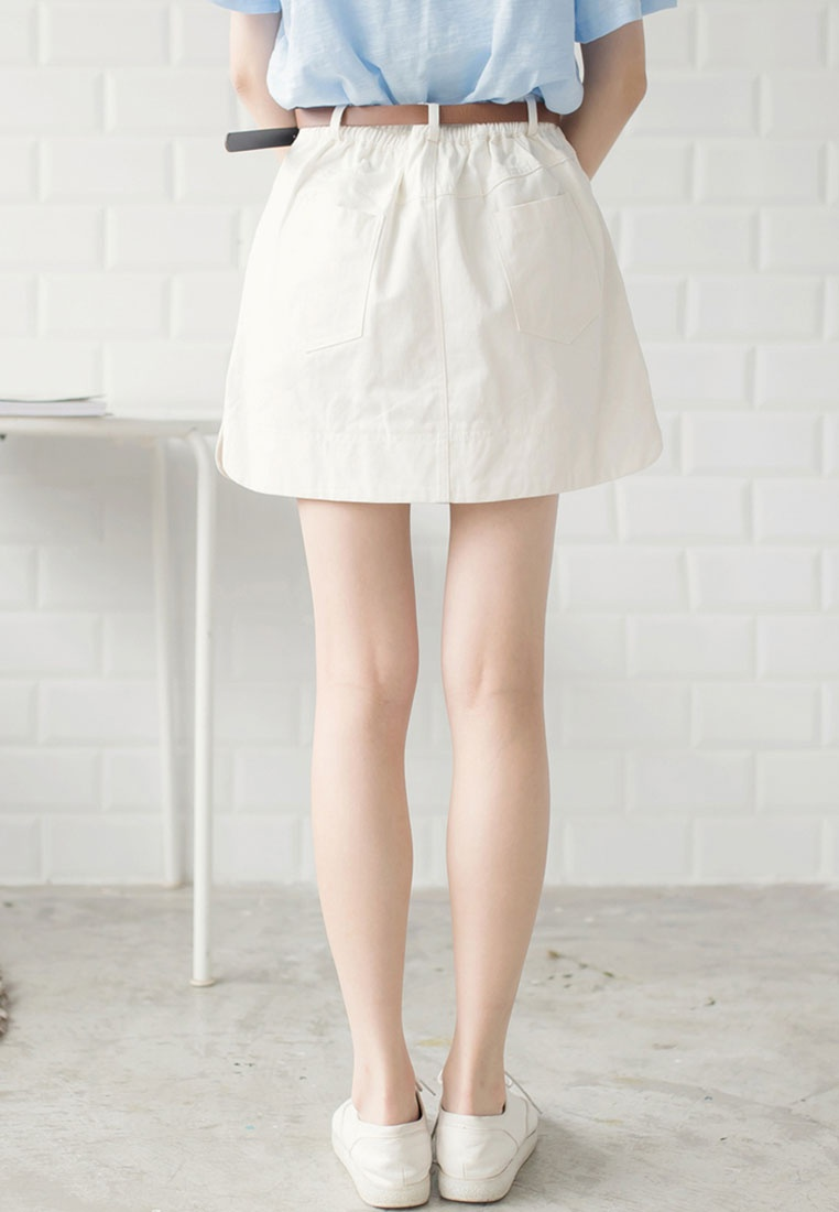 Tokichoi Skirt Fly Casual White Mini Button ZYIwYEnqr