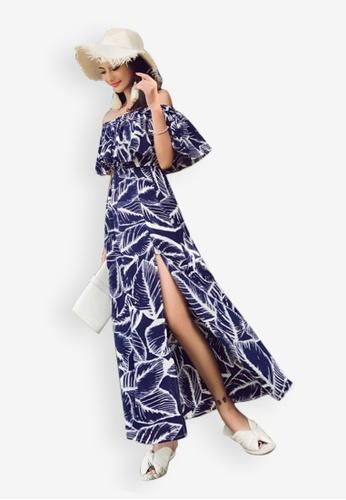 Sunnydaysweety blue Leaf Pattern Off-Shoulder One Piece Dress 5AD8FAAD0A69C9GS_1