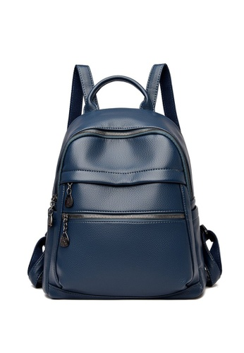 Lara blue Women's Capacious PU Leather Zipper Backpack - Blue EB09AAC0B3F2AAGS_1
