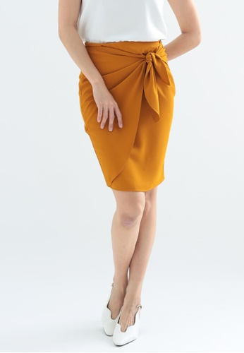 Love Knot yellow Buttercup Wrap Over Pencil Skirt (Mustard) 55215AAE586484GS_1