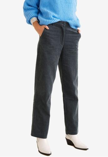 Mango grey Corduroy Straight Trousers A2E3EAABC45AD4GS_1