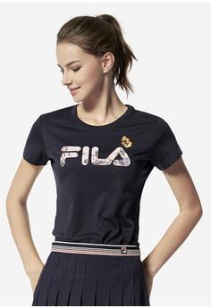 e0d2b5846c40c Fila black Floral-print Logo T-shirt F2196AA981B24BGS 1