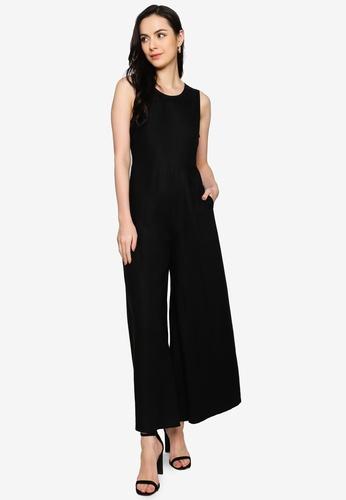 Origin by Zalora black Wide Leg Jumpsuit made from TENCEL™ 6F57CAAFC64794GS_1