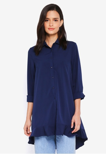Lubna blue Overlap Back Shirt Dress 6BBB3AABEE52F8GS_1