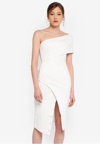 Lavish Alice white Button Detail Cut Out Off Shoulder Midi Dress A1A8FAA96B27F8GS_1