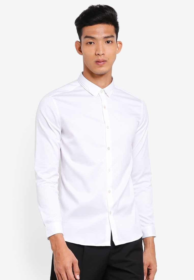 Shirt Twill Lux Collar TWENTY AT white Stitched FaUvq