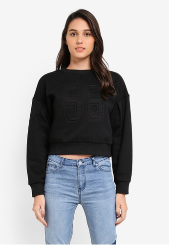 Something Borrowed black Embossed Sweater 54FB3ZZ99BE8D5GS_1