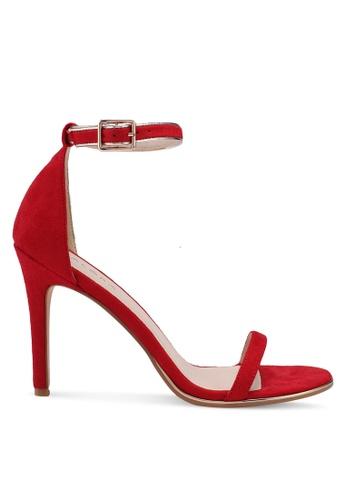 ZALORA 紅色 一字帶麂皮高跟鞋 2542CSH83BEEF2GS_1
