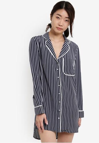 ZALORA navy Embroidered Pocket Pajama Dress 274FCAA1FADFA3GS_1