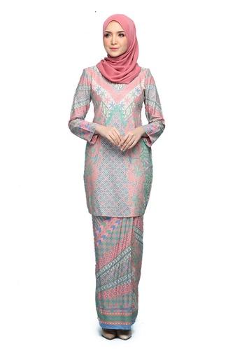 Kurung Ratna from Seri Maharani in Pink and Green and Multi