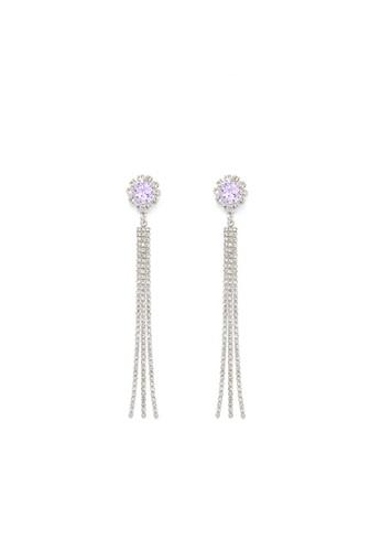 Crystal Korea Fashion purple and silver Korean Noble And Gorgeous Diamond Long Earrings B643AAC9E63861GS_1