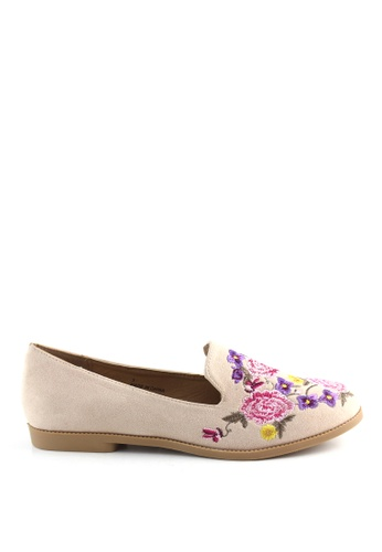 London Rag brown London Rag Lauren Women's Taupe Floral Embroidered Loafers SH1406 B3C01SH6653768GS_1