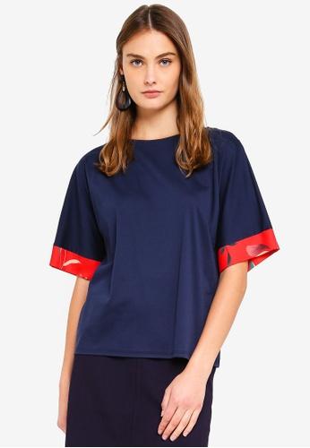 ESPRIT navy Short Sleeve Blouse 03EDAAA9B919FFGS_1