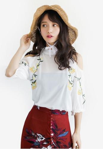 Shopsfashion white Split Shoulder Floral Embroidery Blouse F00ABAA0B17D28GS_1