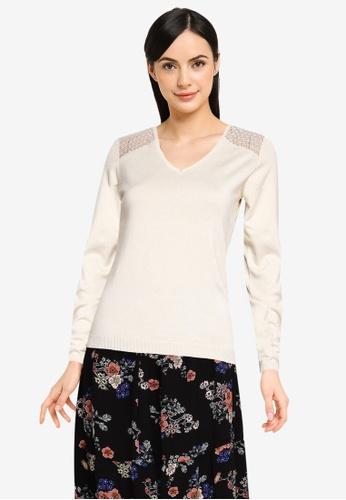 Vero Moda beige Viola Long Sleeve Lace Top 52D5DAA1B1D440GS_1