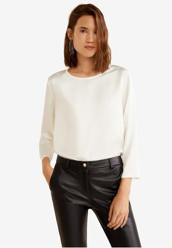 Mango 白色 綢緞 長袖上衣 A818FAA6DEC855GS_1