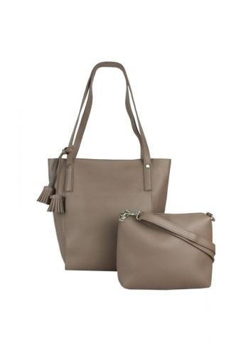 DNJ beige Korean Vogue Tote Bag with Sling DN487AC0JOFLPH_1