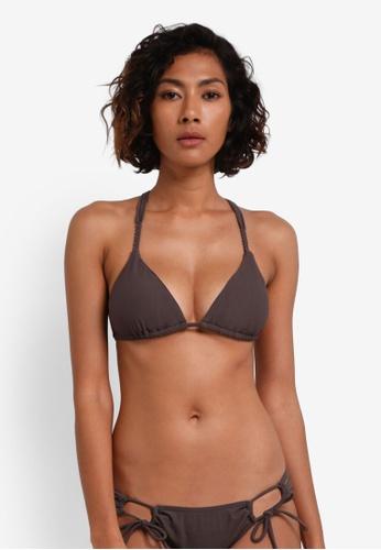 Piha brown Textured Solid Trimmed Tri Bikini Top PI734US0RU28MY_1