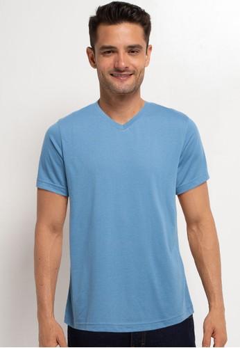 Tolliver blue V Neck Basic Short Sleeve Tee CEBFFAAADC887DGS_1