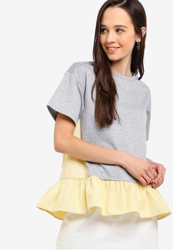 Something Borrowed 灰色 Peplum T恤 F1F3EAA190ED91GS_1