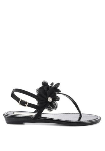 London Rag black Sarah Toe Post Flat Sandals 5C7C3SH50BC832GS_1