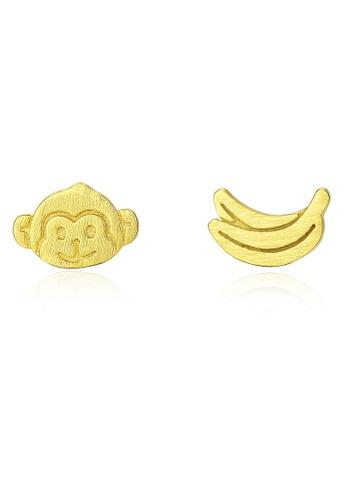 SUNRAIS gold High quality Silver S925 golden little monkey earrings F2245AC1CA52E4GS_1