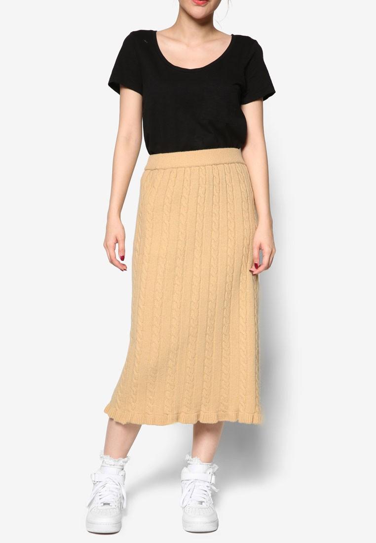 Korean Fashion Wool Knit Midi Skirt