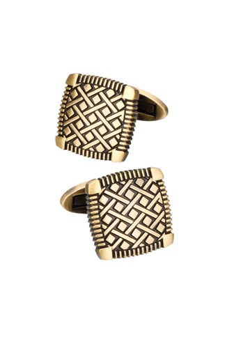 Kings Collection gold Square Bronze Checkered Pattern Cufflinks (KC10059a) FD344AC23343ACGS_1