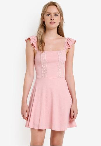 Miss Selfridge pink Petite Lace Trim Skater Dress MI665AA81DEOMY_1