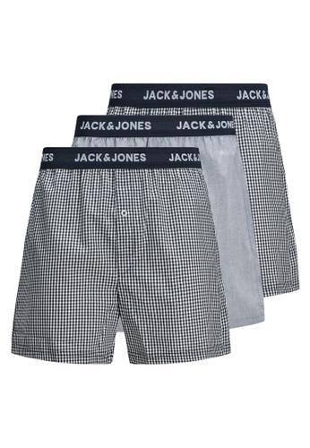 JACK & JONES navy 3-Pack Blue Check Woven Trunks C7C3AUS32F76DDGS_1
