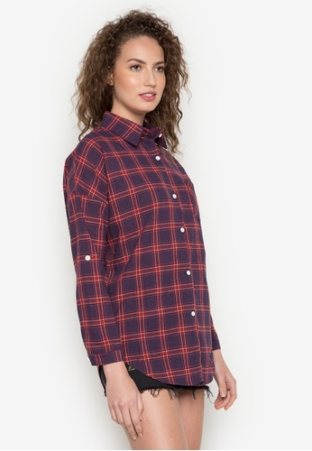 Chase Fashion red and blue and navy Plaid Flannel Shirt 32FBFAAB48F5E8GS_1