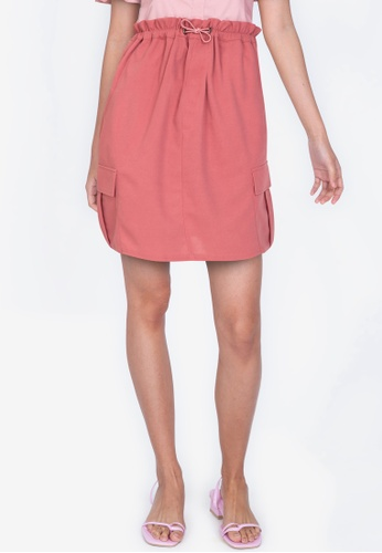ZALORA BASICS 粉紅色 Paperbag Skirt with Stopper Detail 05A1FAA5C1A858GS_1