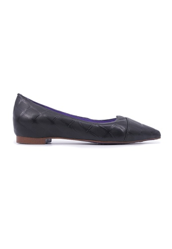 Flatss & Heelss by Rad Russel black Stone Effect Pointy Flats - Black B46AASH4184889GS_1