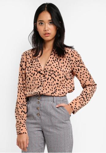 TOPSHOP brown Satin Pyjama Style Shirt 17038AABCBB37BGS_1