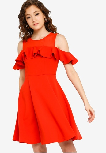 fa9d3b04541 Buy French Connection Alissa Flare Cold Shoulder Dress Online on ZALORA  Singapore