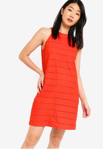 Something Borrowed orange Cotton Eyelet Cut In Shift Dress D6A8FAA317D74CGS_1