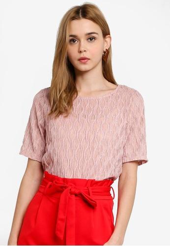 Vero Moda 粉紅色 透視金屬感上衣 EDD2AAAA3EC40EGS_1