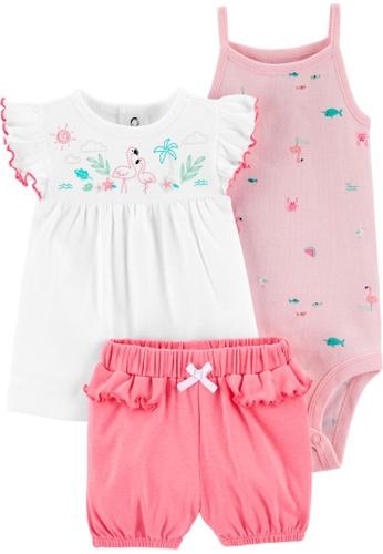 Carter's pink CARTER'S Girl Pink Flamingo Bodysuit Short Set 183E2KA7F271FEGS_1