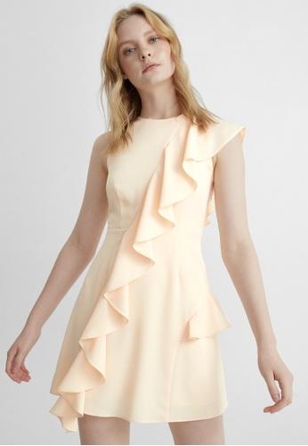 Pomelo beige Draped Ruffle A Line Dress - Cream 85F33AAFC34080GS_1