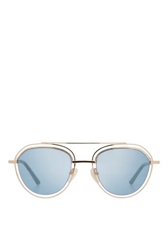 Carin blue and multi and gold Edie C1 Sunglasses 3D9D5GLD4FEA2FGS_1