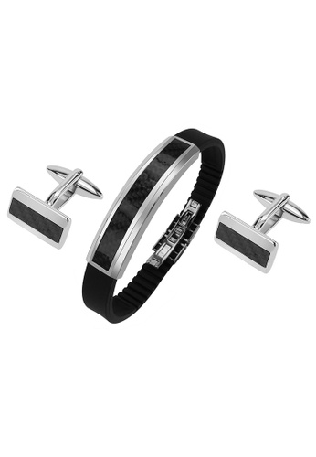 CUFF IT black Stainless Steel Carbon Fiber Cufflinks and Bracelet Set 54B23AC06BA89CGS_1