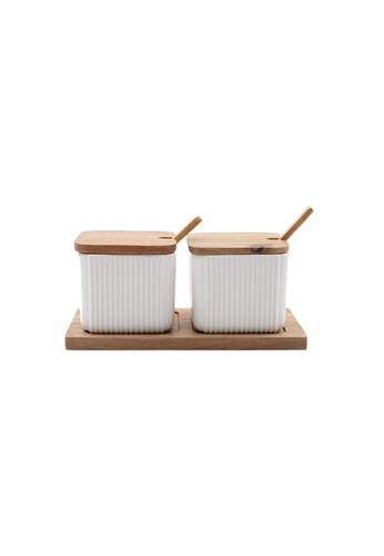 Propstation Ceramic Square Kitchen Canister White Set of 2 68602HL55ABF45GS_1