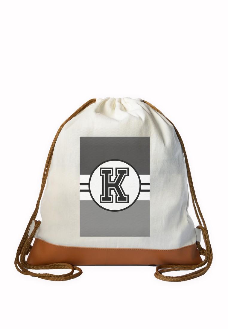 Drawstring Bag Monochrome Sporty Initial K